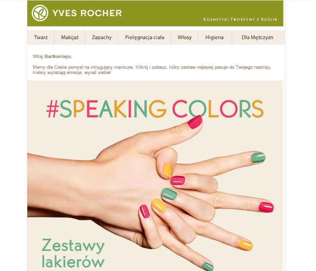 Email od firmy Yves Rocher